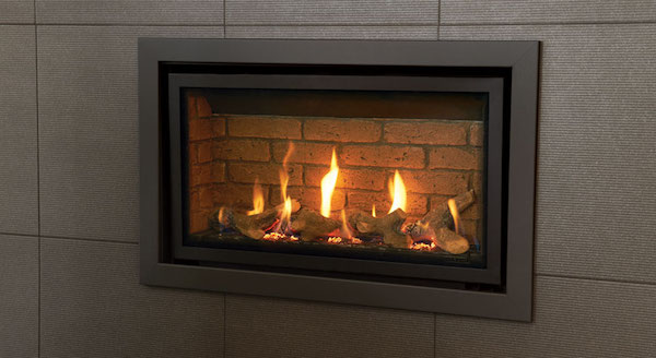Gazco Studio 1 Slimline Verve gas fire in Graphite, Glass Fronted with Log-effect fuel bed and Brick-effect Lining